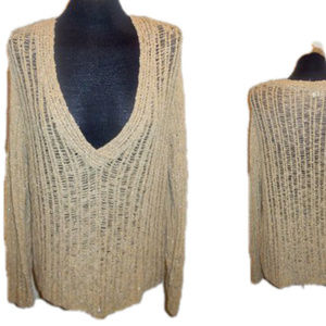 Sweater Tan Golden Lurex Chico's size 3  #j